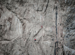 Lukas Binder and Florian Hagspiel during the first ascent of  Freedom of Movement (7c, 200m) Monte Gallo, Sicily
