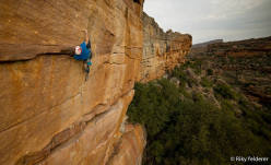 James Pearson and Caroline Ciavaldini trad climbing at Rocklands