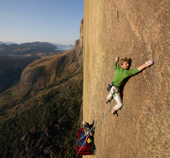 Arnaud Petit climbing the 9th pitch Gecko, 8b+ of Tough Enough, Tsaranoro, Madagascar