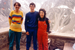 Maurizio Oviglia and Cecilia Marchi photographed with Babette after the first onsight ascent of Tentative de Coup d'Ethique