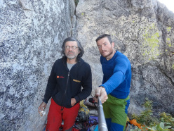 Diego Pezzoli and Roberto Iannilli on the summit of Tangerine Trip, El Capitan, Yosemite