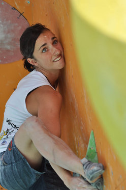 Juliane Wurm competing at the Arco Rock Master Festival