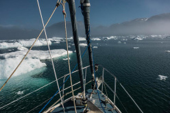 Tricky sailing through the ice - pretty fun as long as we don't get stranded.