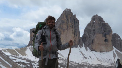 Ivan Peri beneath the Tre Cime di Lavaredo, Dolomites