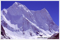The beautiful north face of (6931m), Garhwal, India, Himalaya.