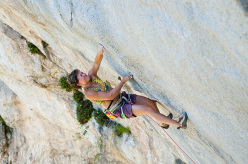 Muriel Sarkany redpointing Punt-X 9a, Gorges du Loup, France