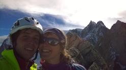 Matteo Della Bordella e Arianna Colliard in vetta al Grand Capucin dopo aver percorso la via Lecco