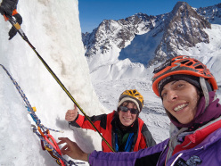 Cecilia Buil and Anna Torretta at the belay of La Gioconda (Cerro Marmolejo)