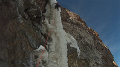 Cecilia Buil climbing Le Bombardier (Cerro El Marmolejo)