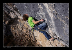 2008. Adam Ondra during the second ascent of Open Air, 9a+, Schleierwasserfall, Austria.