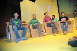 Luca Zardini assieme agli ospiti Sandro Neri, Maurizio 'Icio' Dall'Omo e Gerhard Hörhager durante la serata