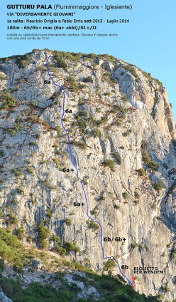 The route Diversamente Giovani (180m, 6b/6b+ max) first climbed by Maurizio Oviglia and Fabio Erriu on Gutturu Pala, Iglesiente