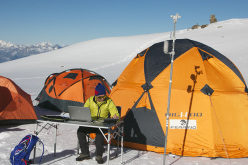 The High-lab Ferrino camp at Rifugio Quintino Sella al Felik, at 3585m on Monte Rosa
