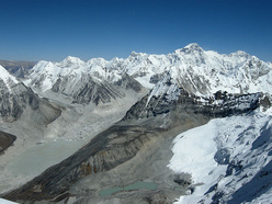The view towards Cho Oyu and the Tibetan plateau from the West Ridge of Kang Nachugo, Himalaya
