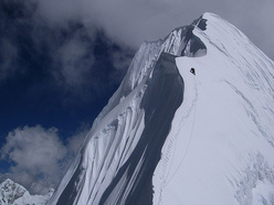 Joe Puryear climbing the West Ridge of Kang Nachugo, Himalaya