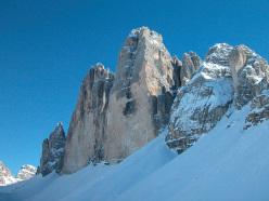 The magnificent Tre Cime di Lavaredo in winter