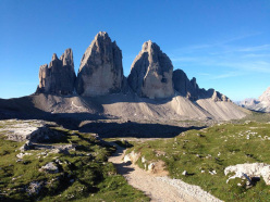 The Tre Cime di Lavaredo, Drei Zinnen, Dolomites. Form left to right: Cima Piccola, Cima Grande, Cima Ovest