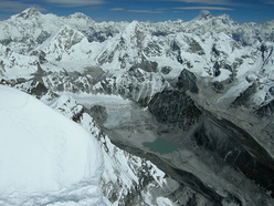 The view east from the summit of Kang Nachugo, Himalaya. Cho Oyu, Everest and Lhotse can be seen in the distance.