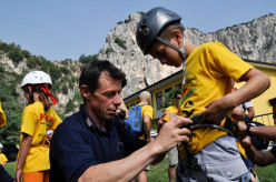 Luca Giupponi helping tomorrow's young climbers at the Arco Rock Junior