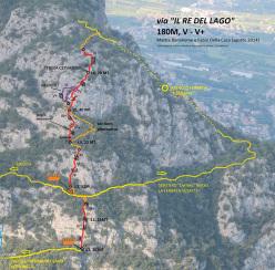 Il re del lago (180m, V -V+ Mattia Bonanome e Fabio Della Casa) Cima Capi, Arco