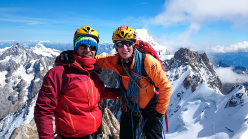 Pablo Criado and Anna Torretta on the summit of Dent de Geant.