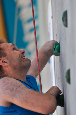 During the Paraclimbing Cup at Arco