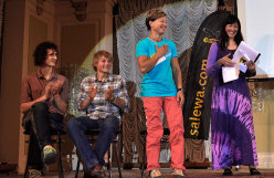 Arco Rock Legends 2014, Muriel Sarkany wins the Salewa Rock Award. On stage with her Adam Ondra, Alexander Megos and Kay Rush.
