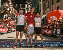 The men's podium of the UTMB® 2014: D'Haene, Karrera and Castanet