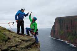 Sir Chris Bonington and Leo Houlding reach the summit of The Old Man of Hoy, Orkney Islands