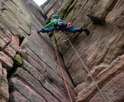 Leo Houlding climbing The Old Man of Hoy, Orkney Islands, together with Sir Chris Bonington