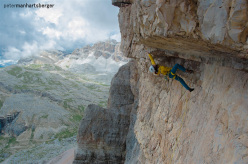 Simon Gietl and Daniel Tavanini during the first ascent of No Credit (X-, 320m),  Tofana di Rozes, Dolomites.