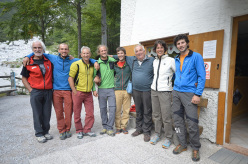 The party at rifugio Croz dell'Altissimo. From left to right: Sergio Martini, Alessandro Baù, Marco Furlani, Marco Pellegrini, Francesco Salvaterra, Marco Pilati, Claudia Mario, Alessandro Beber