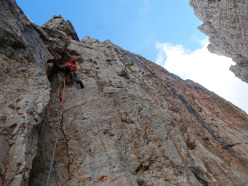 During the first attempt up the corner on the left, during the first ascent of Via Attraverso il Tempo, Campanile Basso