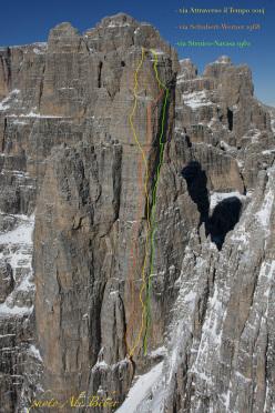 Via Attraverso il Tempo, Campanile Basso di (420m, VIII, Alessandro Baù, Alessandro Beber, Matteo Faletti 08/2014), with the route lines of Via Schubert - Werner (1968) and via Stenico - Navasa (1962)