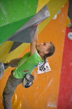 Janja Garnbret wins the Youth B European Youth Boulder Championships 2014 at Arco, Italy