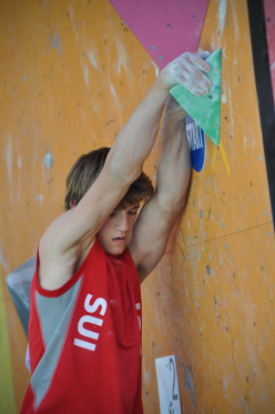 Baptiste Ometz wins the Youth A European Youth Boulder Championships 2014 at Arco, Italy