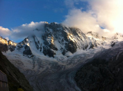 During  Corrado Pesce's solo ascent of the Polish route up the North Face of the Grandes Jorasses, Mont Blanc