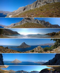 View of Kalymnos.From top to bottom: 1. La grandi falesie sopra Massouri 2. Poets, la prima falesia dell'isola 3. La spiaggia di Kantouni 4. Telendos dalla falesia di Poets 5. Telendos dalla falesia di Iannis 6. La Spiaggia dei Pirati (Skalia)