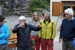 Claudia Mario, Mariano Frizzera, Marco Furlani and Alessandro Gogna at the celebration at Rifugio Croz dell'Altissimo