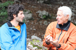 Alessandro Beber and Valentino ChiniMarco Furlani, two generations of alpinists at the celebration at Rifgio Croz dell'Altissimo