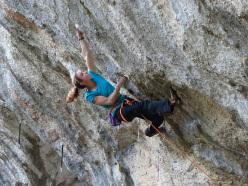 Anak Verhoeven climbing Qoussai 8c, Gorges du Loup, France