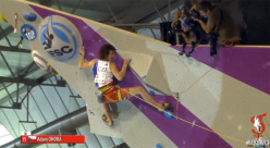 Adam Ondra on his way to winning the Lead World Championship 2014 at Gijón, Spain