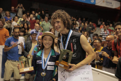 Jain Kim and Adam Ondra, Lead World Champions 2014 at Gijón, Spain