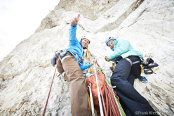 Ines Papert and Lisi Steurer during the first one-day ascent of Ohne Rauch stirbst du auch (8a, 500m), Cima Grande, Tre Cime di Lavaredo, Dolomites