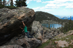 Jorg Verhoeven bouldering in the Rocky Mountain National Park, Colorado, USA