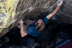 Jorg Verhoeven climbing 'Wheel of Chaos' V14 (8B+), Rocky Mountain National Park, Colorado, USA