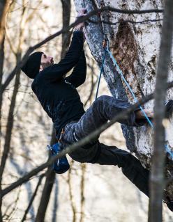 Il climber tedesco Markus Bock a Nago, Arco