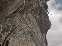 Hansjörg Auer during the first ascent of The Music of Hope (7a, A1, 500m), first climbed on 09/09/2014 together with Gerri Fiegl on Kristallwand, Kirchkogel, Austria.