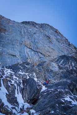 David Lama during the first attempt of The Music of Hope (7a, A1, 500m), together with Hansjörg Auer in January 2014, Kristallwand, Kirchkogel, Austria.