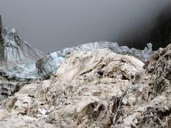 Il fronte del ghiacciaio delle Grandes Jorassess